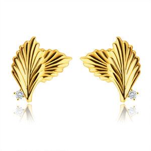 Zlaté 9K náušnice - dva překrývající se listy, drobný kulatý zirkon, puzetky