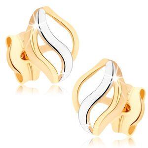 Zlaté náušnice 375 - tři lesklé vlnky, dvoubarevné provedení, puzetky