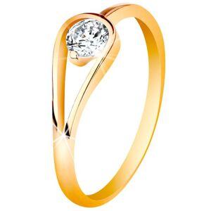 Zlatý 14K prsten s úzkými lesklými rameny, čirý zirkon ve smyčce - Velikost: 54