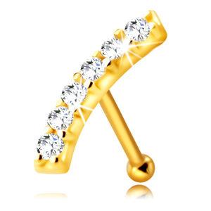 Zlatý 375 piercing do nosu - mírně zaoblený proužek s čirými zirkony