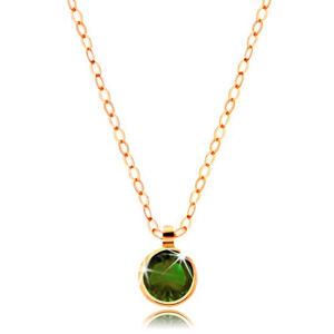 Zlatý náhrdelník 585 - kulatý olivově zelený zirkon, lesklý řetízek z oválných oček