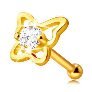 Zlatý piercing do nosu ze 9K zlata - kontura motýla s kulatým zirkonem čiré barvy, 2 mm