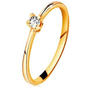Zlatý prsten 585 - blýskavý čirý briliant ve čtyřcípém kotlíku, zúžená ramena - Velikost: 49