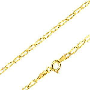 Zlatý řetízek 585 - tenká plochá očka, blyštivé paprskovité zářezy, 500 mm